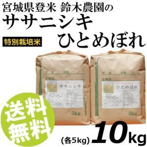 お米 10kg 白米 ひとめぼれ ササニシキ 宮城県登米産 精白米 特別栽培米 送料無料 贈答品 お取り寄せ|umakore