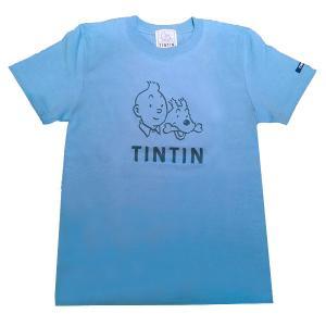 TINTIN タンタン ベーシックTシャツ/フェイス/Lブルー Mサイズ|umd-tsutayabooks