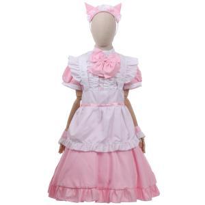 ハロウィン 衣装 コスプレ 仮装 コスチューム かわいい お手軽5点セット レディース 猫耳 メイド ドレス コスチューム XL 大きいサイズ ピンク|umineko-shoji