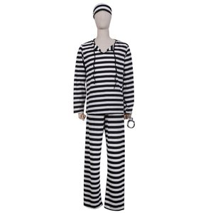 ハロウィン 衣装 コスプレ 仮装 コスチューム 男 男性 メンズ うける お手軽3点セット 囚人服 コスチューム 手錠付き XL 大きいサイズ|umineko-shoji