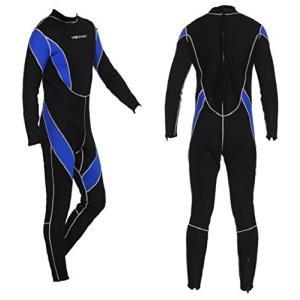 ウェットスーツ メンズ L フルスーツ 3mm ウエットスーツ ネオプレーン サーフィン ダイビング 男 マリンスポーツ 初心者 2 ブルー ブラック ウミネコ|umineko-shoji