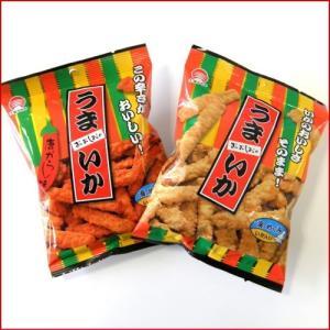 うまいか プレーンと唐辛子味(イカの天ぷらスナック菓子/旧いか天スティックと旧辛いか天)