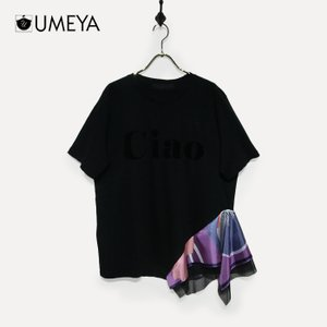 スカーフ切替デザインTシャツ une-chance