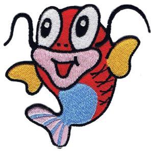 広島カープ 刺繍ワッペン かわいい鯉くん (K-0001) カープユニフォーム CARP 広島東洋カープ カープ女子 応援歌 刺繍 メール便 アイロン|uneemb-store