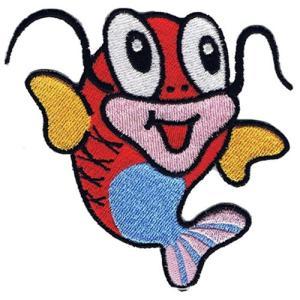 広島カープ 刺繍ワッペン かわいい鯉くん (K-0002) カープユニフォーム CARP 広島東洋カープ カープ女子 応援歌 刺繍 メール便 アイロン接着|uneemb-store