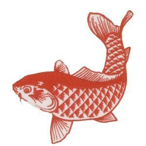 広島カープ 刺繍ワッペン 鯉 レッド (K-0009) カープユニフォーム CARP 広島東洋カープ カープ女子 応援歌 刺繍 メール便 アイロン接着|uneemb-store