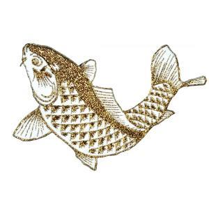 広島カープ 刺繍ワッペン 鯉 金ラメ (K-0015) カープユニフォーム CARP 広島東洋カープ カープ女子 応援歌 刺繍 メール便 アイロン接着|uneemb-store