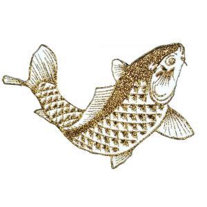 広島カープ 刺繍ワッペン 鯉 金ラメ (K-0016) カープユニフォーム CARP 広島東洋カープ カープ女子 応援歌 刺繍 メール便 アイロン接着|uneemb-store