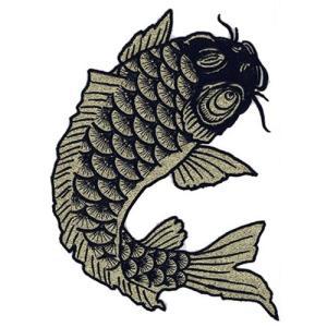 広島カープ 刺繍ワッペン 鯉 金×黒刺繍 (K-0018) カープユニフォーム CARP 広島東洋カープ カープ女子 応援歌 刺繍 メール便 アイロン接着|uneemb-store