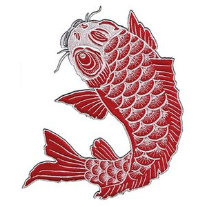 広島カープ 刺繍ワッペン 鯉 赤×白刺繍 (K-0019) カープユニフォーム CARP 広島東洋カープ カープ女子 応援歌 刺繍 メール便 アイロン接着|uneemb-store