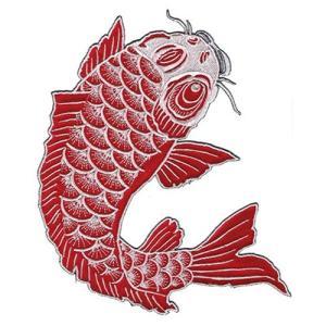 広島カープ 刺繍ワッペン 鯉 赤×白刺繍 (K-0020) カープユニフォーム CARP 広島東洋カープ カープ女子 応援歌 刺繍 メール便 アイロン接着|uneemb-store