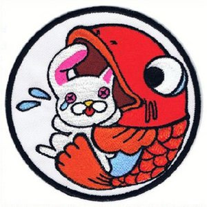広島カープ 刺繍ワッペン 呑み鯉×兎 (NK-0003) カープユニフォーム CARP 広島東洋カープ カープ女子 応援歌 刺繍 メール便 アイロン接着|uneemb-store