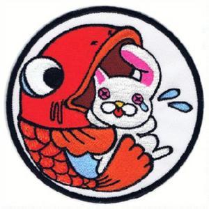 広島カープ 刺繍ワッペン 呑み鯉×兎 (NK-0004) カープユニフォーム CARP 広島東洋カープ カープ女子 応援歌 刺繍 メール便 アイロン接着|uneemb-store