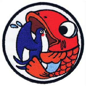 広島カープ 刺繍ワッペン 呑み鯉×燕 (NK-0007) カープユニフォーム CARP 広島東洋カープ カープ女子 応援歌 刺繍 メール便 アイロン接着|uneemb-store