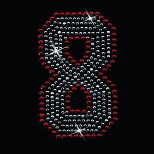 広島カープ ワッペン ラインストーン 8 (RS-0009) カープユニフォーム CARP 広島東洋カープ カープ女子 応援歌 刺繍 メール便 アイロン uneemb-store