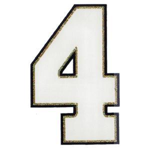 広島カープ 刺繍ワッペン スパンコール 背番号 4 白 (S-0012) カープユニフォーム CARP 広島東洋カープ カープ女子 刺繍 メール便 アイロン|uneemb-store
