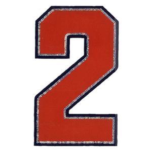 広島カープ 刺繍ワッペン スパンコール 背番号 2 赤 (S-0015) カープユニフォーム CARP 広島東洋カープ カープ女子 刺繍 メール便 アイロン|uneemb-store