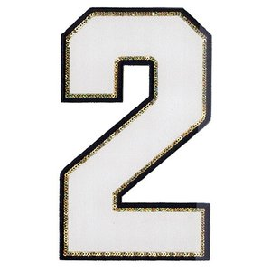 広島カープ 刺繍ワッペン スパンコール 背番号 2 白 (S-0016) カープユニフォーム CARP 広島東洋カープ カープ女子 刺繍 メール便 アイロン|uneemb-store
