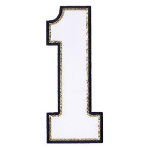 広島カープ 刺繍ワッペン スパンコール 背番号 1 白 (S-0018) カープユニフォーム CARP 広島東洋カープ カープ女子 刺繍 メール便 アイロン|uneemb-store