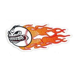 広島カープ 刺繍ワッペン ファイアーボール 顔 (SO-0016) カープユニフォーム CARP 広島東洋カープ カープ女子 応援歌 刺繍 メール便 アイロン|uneemb-store