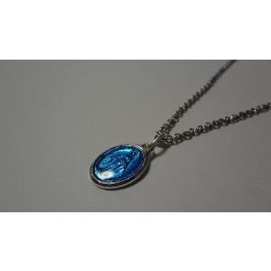 パリ 奇跡のメダイ 不思議のメダイ ネックレス 青銀 Msize 45cmチェーン付|uneperle