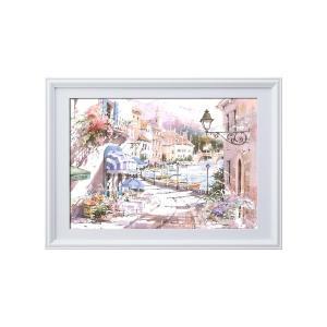 マリリン・シマンドル絵画額 白いフレーム・花の絵・風景画「ウォーターフロントヴィレッジ」|uniclass-i