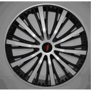 重厚感バツグンのブラッシュタイプ ホイールカバー ブラック&シルバー 15インチ 4枚セット|uniclass-i