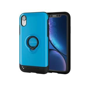 エレコム iPhone XR/TOUGH SLIM/リング付/ブルー PM-A18CTSRBU