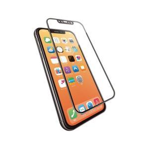 エレコム iPhone XS/フルカバーガラス/セラミックコート/フレーム付き/ブラック PM-A1...