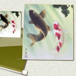 夫婦滝昇鯉 /開運/掛け軸/絵画|uniclass-i