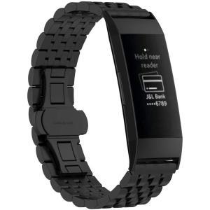 Bleaf Fitbit Charge 3 バンド 交換 ステンレス製 ビジネス風リストバンド スマートウォッチ ストラップ (ブラック) unicorn802