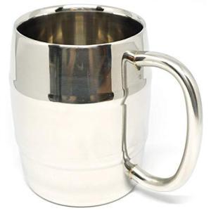 Praxia マグカップ ビアジョッキ ステンレス ステンレスマグ 樽型 二重構造 保温 300ml 防水キャリングポーチ/コルクコースター|unicorn802