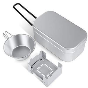 正規品 メスティン キャンプ 3点セット ポケットストーブ シェラカップ 飯盒 2合アルミ製飯ごう 折りたたむストーブ はんごうすいはん 炊|unicorn802