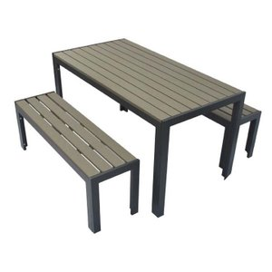 人工木テーブル長方形+ベンチ120 2台セット ダークブラウン 旭興進 (代引不可)(TD):予約品