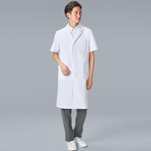 医療 ドクターコート 白衣 診察衣 メンズ シングル 半袖 112-30|uniform-japan