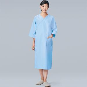 検診衣 224-91 男女兼用 七分袖 ガウンタイプ 人間ドック メディカルウェア 医療 看護 介護 病院 KAZEN MEDICAL
