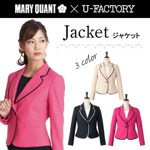 ジャケット/MARYQUANT/U-FACTORY/マリークワント/マリークヮント/M43061-43063/5号-17号/ブラック/ピンク/ベージュ/事務服/オフィス/レディース/受付/チクマ|uniform-net-shop