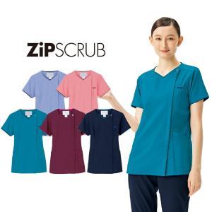 スクラブ 医療 白衣 レディース メディカル ジップスクラブ 7022SC ポリ100% 着脱簡単 フォーク|uniform-net-shop
