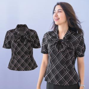 半袖ポロシャツ オフィスポロ オフィス 事務服 レディース  ESP-451 透けない ニット素材 吸汗速乾 リボン付 ホームクリーニング|uniform-net-shop