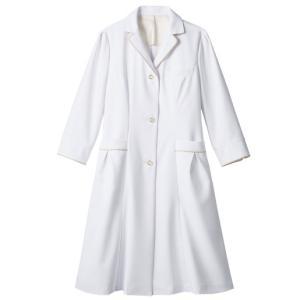 医療白衣 レディスドクターコート(7分袖・シングル) EN121-11 住商モンブラン|uniform-shop