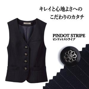 事務服 レディースベスト S-04021 ピンドットストライプ セロリー|uniform-store