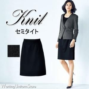 事務服 後ゴムセミタイトスカート AS2301 ハウンドトゥースニット ボンマックス|uniform-store