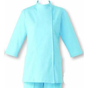 女性用コート 七分袖 ナースウェア SUNPEX サックス|uniform100ka