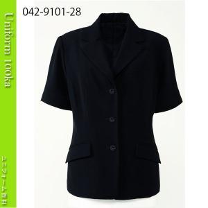 事務服 ジャケット シワになりにくい ジョーゼット 半袖 ハネクトーン|uniform100ka