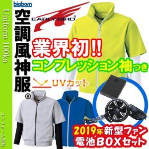 空調服 空調風神服 UVカット半袖ジャケット コンプレッション袖付(2018年新型ファン/電池ボックスセット) RD9810R 045-bk6059-1