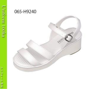 靴 シューズ ナース ドクター 医療 衝撃吸収素材内蔵 厚底ナースサンダル(二本ライン) 白 サイトーシューズ|uniform100ka