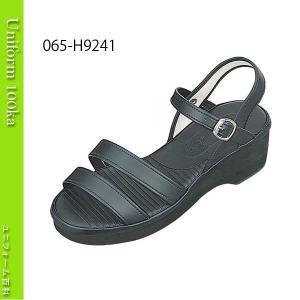 靴 シューズ ナース ドクター 医療 衝撃吸収素材内蔵 厚底ナースサンダル(二本ライン) 黒 サイトーシューズ|uniform100ka