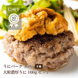 溢れる肉汁 うにと食べる信州牛A5バーグ3個と大粒濃厚 うに 100gのセット ハンバーグ 詰め合わせ 冷凍 和牛 牛 肉  雲丹 美味しい お取り寄せ|unihamburg