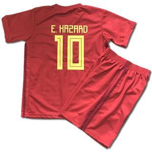 ベルギー代表ホーム/エデン・アザール/HAZARD/背番号10/子供用2018サッカーユニフォーム/ノンブランドレプリカユニフォーム