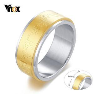 06b02e556f42 ゴールド トーン スピナー リング 指輪 メンズ 8mm ステンレス ビンテージ エスニック 幸運 祈り